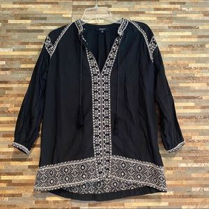 Madewell Camelia Embroidered Tassel Top XS
